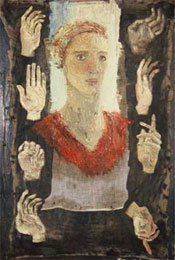 Self Portrait with Hands, 1991, 3' x 4', Oil on Canvas